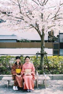 Yasuno (pictured on the left) enjoying the cherry blossom season.