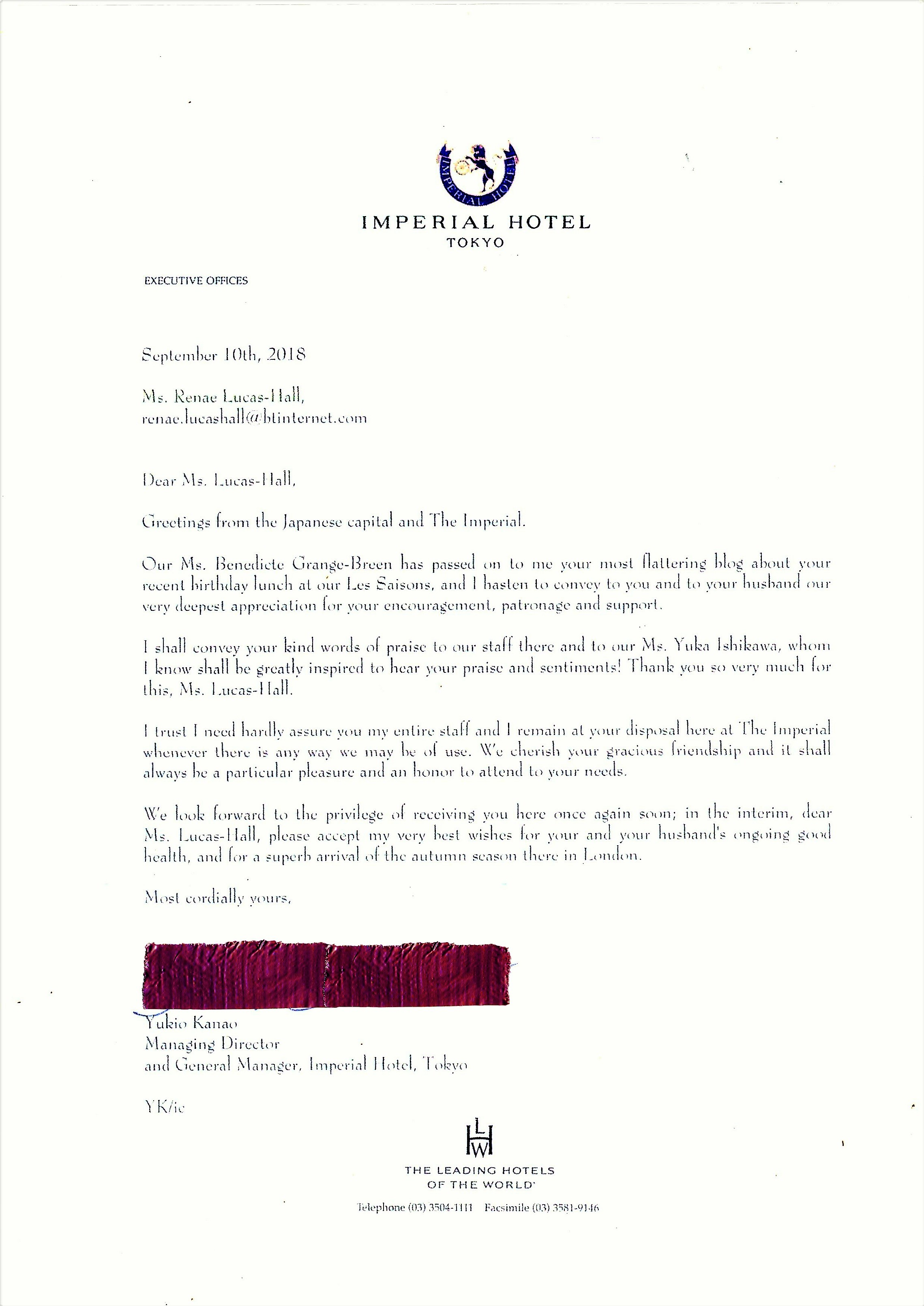 A Lovely Letter from the General Manager of the Imperial